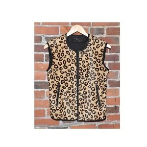 THEORY Dyed Italian Calf Fur LEOPARD VEST Size M